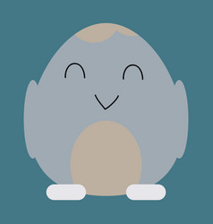 Cute little chick in cracked egg vector