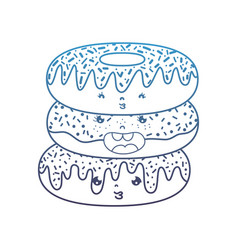 Degraded line kawaii cute donuts facial expression vector