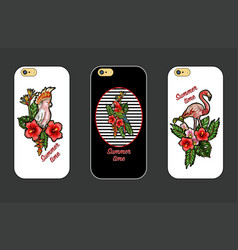 design cover for phone with embroidery patches vector image