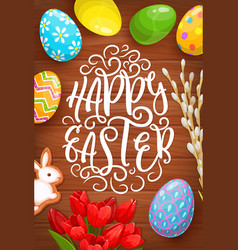 easter eggs bunny and flowers greeting card vector image