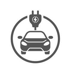 electric car flat icon simple black vector image