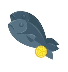 Fish with lemon in cartoon style vector