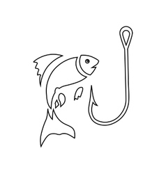 Fishing hook and fish icon outline style vector image