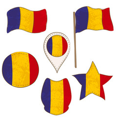 flag of the romania performed in defferent shapes vector image