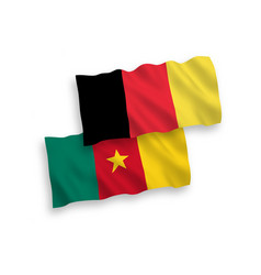 Flags belgium and cameroon on a white vector
