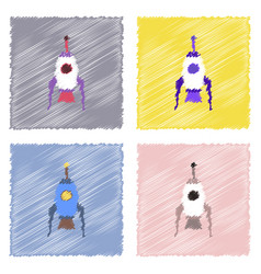Flat icon design collection space rocket in vector