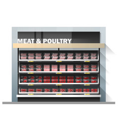fresh meat display on shelf in supermarket vector image