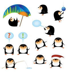 funny cartoon penguins vector image