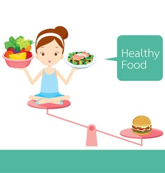Girl Food On Balance vector