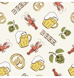 glass beer hop and crayfish seamless pattern vector image