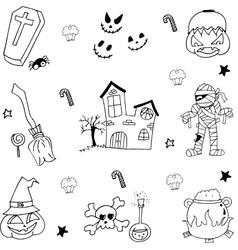 Halloween Flat element in doodle vector