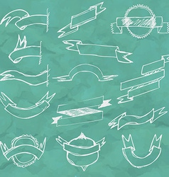 Hand Draw Ribbon Set vector image