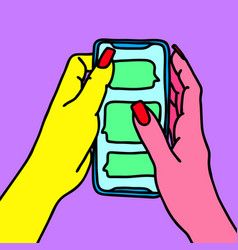 hands with long nails holding smartphone woman vector image