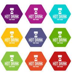 Hot drink icons set 9 vector
