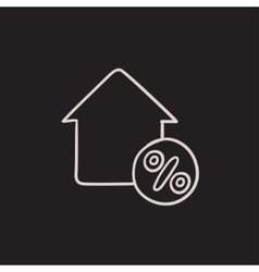 House with discount tag sketch icon vector image