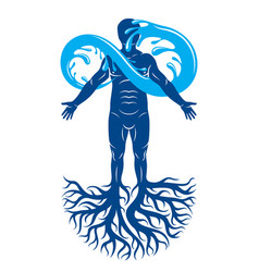 Human being strong athlete with tree roots and vector