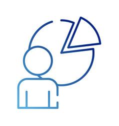 Human figure avatar with statistics pie gradient vector