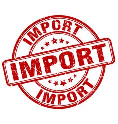 Import red grunge round vintage rubber stamp vector