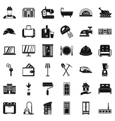 Indoor icons set simple style vector