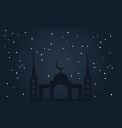 Islamic background with mosque night sky vector