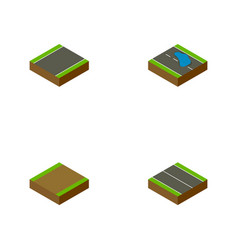 Isometric road set of flat footpath plash and vector