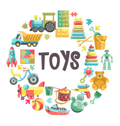 kids toys banner with colorful icons set in circle vector image
