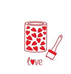 Love paint with hearts inside Card vector image
