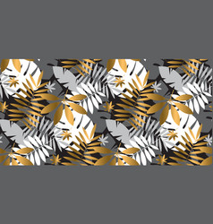 luxury abstract tropical leaves seamless pattern vector image