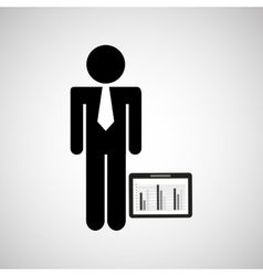 man silhouette business and tablet statistics vector image