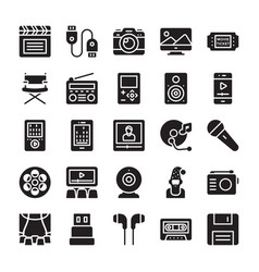 Media and entertainment glyph icons vector