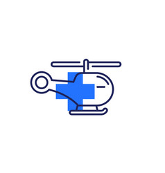 Medical helicopter or air ambulance line icon vector