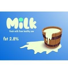 Milk in wooden bucket vector