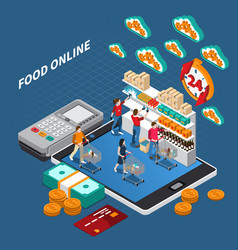 mobile shopping isometric composition vector image