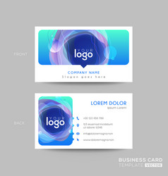 Modern blue business card design with vibrant vector