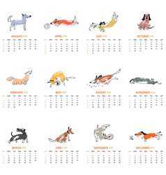 monthly calendar 2018 with cute dogs vector image