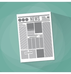 newspaper icon on green background vector image