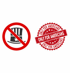 no american icon with grunge only for americans vector image