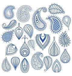 Oriental leaf doodles vector