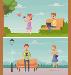 People with gadgets outdoor compositions vector