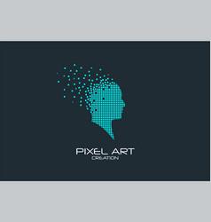pixel art human head logo vector image