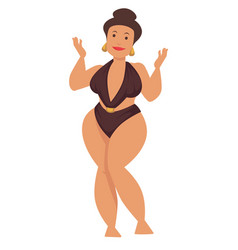 Plump woman or plus size model in swimsuit vector