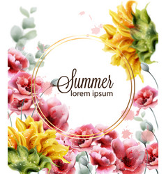 Poppy and sunflowers card watercolor summer vector