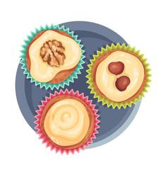 Praline sweets as dessert served on plate vector