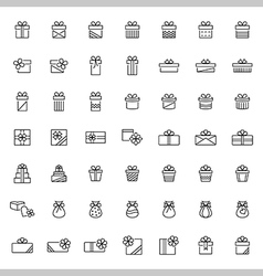 Present icon set in thin line style vector