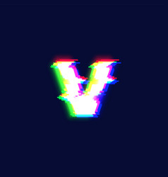 realistic glitch font character v vector image