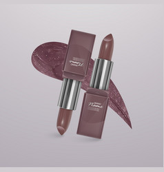 Realistic lipstick of light brown color with vector