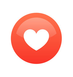 red heart like icon isolated on white round vector image