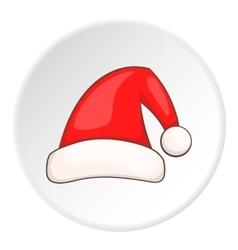 Red Santa hat icon cartoon style vector image
