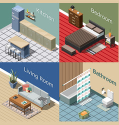 residential interior isometric concept vector image