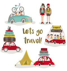 Road trip concept set of people trvelling by car vector